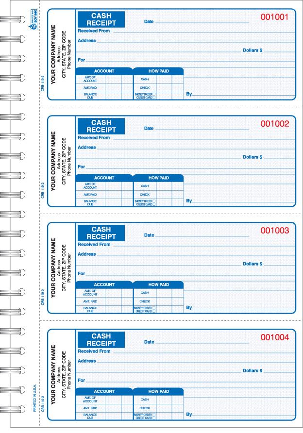 CRB119 Wire Bound Cash Receipt Book – Payroll Receipt Template