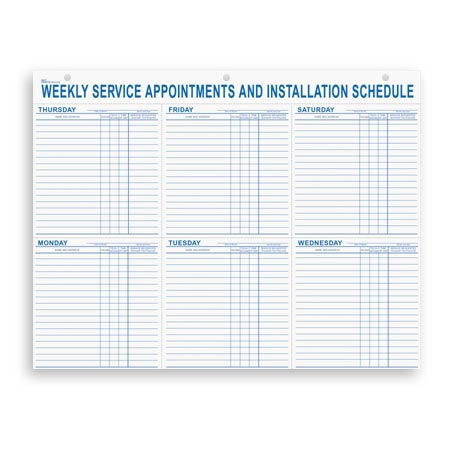 9927 Weekly Service Appointment Pad