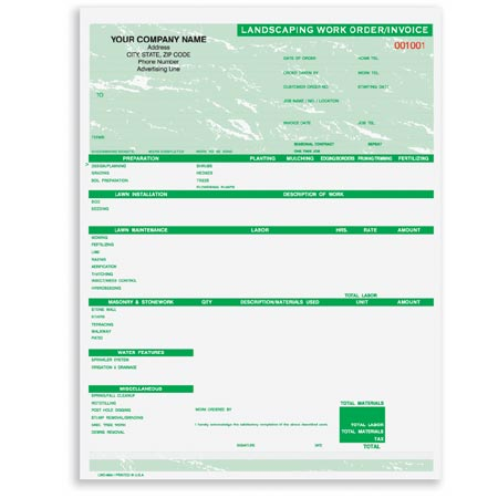 Lwo-893, Landscaping Work Order/Invoice