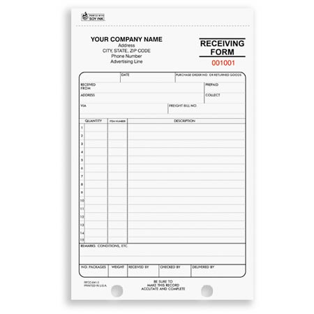 RFCC-641, Receiving Form