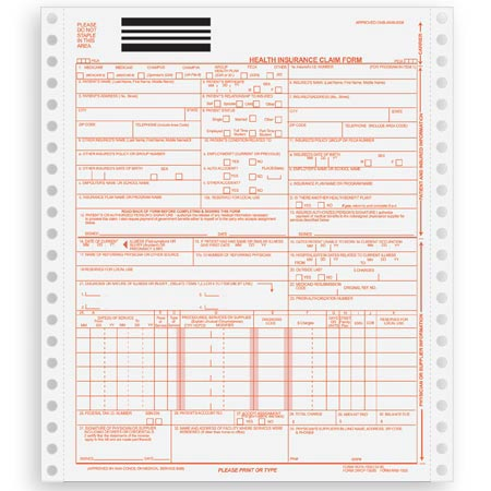 CMS-1500, Continuous/Dot Matrix Health Insurance Claim Form BLANK
