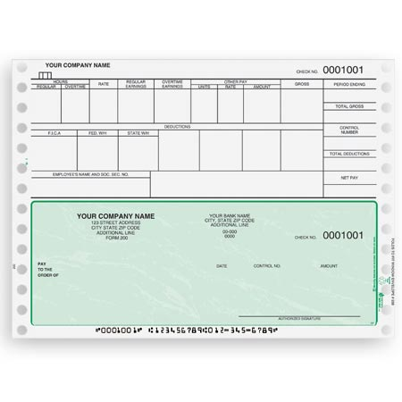 CB301, Continuous and Dot Matrix Payroll Check