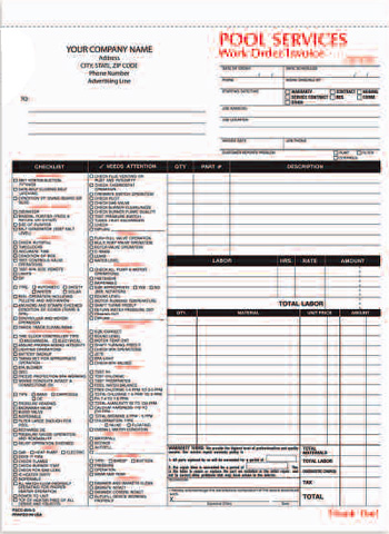 Pscc 895 Pool Services Work Order Invoice