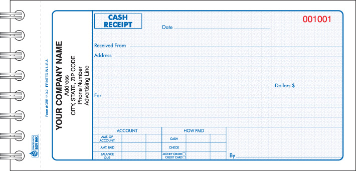 crb 110 wire bound cash receipt book