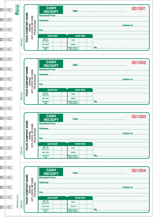 crb 120 wire bound cash receipt book