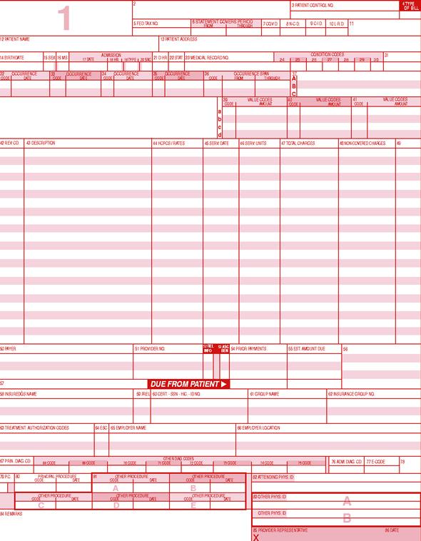 hcfa 1450 continuous dot matrix ub 92 claim forms
