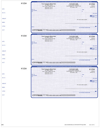 LW001, Laser/Inkjet Wallet Size 3-to-a Page Checks